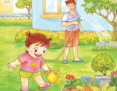 小女孩帮妈妈洗脚简笔画